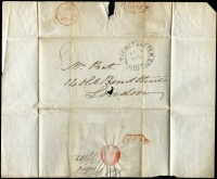 "Lot 1583 [3 of 3]:1852 stampless outer from Col Waters to London, cancelled with double-oval 'PACKET LETTER/SP9/1852/MAURITIUS' (B1), rated ""8"" in black, filing hole in front hardly detracts."