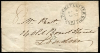 "Lot 1315 [1 of 3]:1852 stampless outer from Col Waters to London, cancelled with double-oval 'PACKET LETTER/SP9/1852/MAURITIUS' (B1), rated ""8"" in black, filing hole in front hardly detracts."