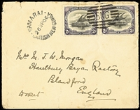 Lot 1422 [1 of 2]:1906 (Sep 26) use of 2d BNG x2 on cover to Mrs MJW Mongan/Haselbury Bryan Rectory, stamps cancelled with fine 'BNG' (A1+) tied with 'SAMARAI/26SP06/BRITISH