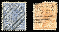 Lot 973:319: on 1882 1d Sideface (faults) and 322 on 1882 2d Sideface, both unallocated. [Both rated RRR]
