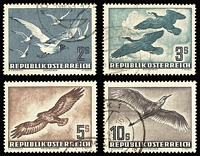 Lot 987 [1 of 2]:1950-53 Airmails fine cds examples with fresh appearance, mostly very well-centred 1950 60g and 2s, 1952 20s, 1953 1s to 10s Mi #955-6,968,984-7. (7)