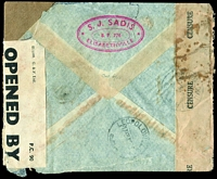 Lot 1522 [2 of 2]:1942 (May 7) use of 50c, 2fr50, 4f Rowers & 20f Native Woman x2 on Clipper (FAM22) cover from Elisabethville to London via Miami, Belgian Congo censor tape at left, British censor tape and plain brown tape at right, some water damage and other faults.