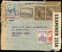 Lot 1522 [1 of 2]:1942 (May 7) use of 50c, 2fr50, 4f Rowers & 20f Native Woman x2 on Clipper (FAM22) cover from Elisabethville to London via Miami, Belgian Congo censor tape at left, British censor tape and plain brown tape at right, some water damage and other faults.