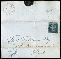 Lot 1152:1850 Outer to Rickmansworth with 2d blue SG 14 tied by London 1 in diamond with Rickmansworth receiving handstamp in blue JY 23 1850 at lower left and fine London E P JY 22 1850 on reverse, filing crease.