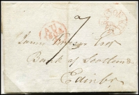 Lot 2067 [1 of 5]:1784-1805 Namestamps mounted on cardboard for display; [1] 1805 Banff to Elgin, used 1800-08; [2] 1805 Kilmarnock to Edinburgh, namestamp in red, used 1801-09; [3] 1784 Elgin to Huntly, used 1779-89 [Rated D by Mackay]; [4] 1787 Elgin to Portsoy, used 1779-89 [Rated D by Mackay]