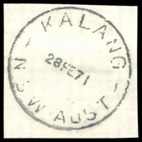 Lot 1197:Kalang: 'KALANG/28FE71/N.S.W-AUST' on piece. [Extremely rare - Hopson & Tobin record 1 date only of 1955. This is the only SDL recorded.]  Renamed from Middle Kalang PO 1/1/1948; TO 1/2/1968; closed 31/5/1973.