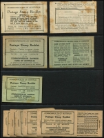 Lot 234 [3 of 3]:1934-70 Selection of empty booklets, great for exploding without damaging your complete booklets; [1] two 1934 2/- 4th revised text (#B46E) with wax interleaves and unrecorded as such, badly toned; [2] two 1935-37 2/- Black on green (#B48), some toning; [3] 1938-41 2/- black on green with wax interleaving (#B52), some toning; [4] six 1942-49 2/- black on fawn with wax interleaving (#B54); [5] 1952-53 3/6d 2nd revised text (#B56C); [6] four 1953-57 3/6d with pink stitching (2 different pink shades) & wax interleaves (#B57v?); [7] 1969 Prime Ministers ed G69/4 with wax interleaves (#D132Ddv). Plus a selection of 'More to Pay' forms from the 1940s. (17)