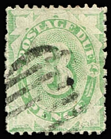 Lot 865:1906-08 Design Completed Wmk Crown/Single Lined A 3d light green, BW #D52, few perf faults, Cat $450, rare.