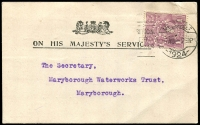 Lot 222:1d Violet Perf 'OS' rare solo franking for Postcard rate, unfortunately spikehole in stamp, tied by Melbourne slogan to 1924 (4 Aug) Official card to Maryborough.