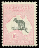 Lot 104:10/- Grey & Pink BW #49, centred to lower left. MUH, Cat $3,000.