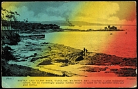 Lot 755 [2 of 2]:2067: light BN on 1d Arms tied by framed 'SHUTTLETON/3SP/1906/N.S.W' (A1) on interesting H&B 3-colour PPC of 'BOTTLE AND GLASS ROCK, VAUCLUSE, WATSON'S BAY...'. [Rated RRR]  Allocated to Shuttleton-PO 20/2/1903; closed 22/12/1928.