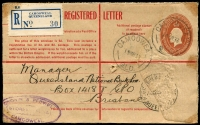 Lot 819 [2 of 4]:1930-36 Registered Postal Stationery Use [1] 1930 2d KGV & 3d Kookaburra on 2d on 1½d Envelope, Brisbane to Dunedin (double weight); [2] 'ROLLINGSTONE R.S./13NOV36/QUEENSLAND' on 5d Registration Envelope with blue provisional label; [3] 'CALOUNDRA/23AP36/QUEENS[LAND]