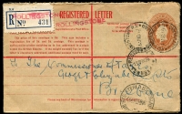 Lot 819 [3 of 4]:1930-36 Registered Postal Stationery Use [1] 1930 2d KGV & 3d Kookaburra on 2d on 1½d Envelope, Brisbane to Dunedin (double weight); [2] 'ROLLINGSTONE R.S./13NOV36/QUEENSLAND' on 5d Registration Envelope with blue provisional label; [3] 'CALOUNDRA/23AP36/QUEENS[LAND]
