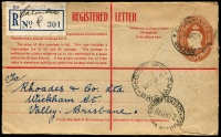 Lot 819 [1 of 4]:1930-36 Registered Postal Stationery Use [1] 1930 2d KGV & 3d Kookaburra on 2d on 1½d Envelope, Brisbane to Dunedin (double weight); [2] 'ROLLINGSTONE R.S./13NOV36/QUEENSLAND' on 5d Registration Envelope with blue provisional label; [3] 'CALOUNDRA/23AP36/QUEENS[LAND]