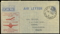 Lot 876:1945 Qantas Lancastrian Service 7d KGVI Air Letter with printed 'FIRST FLIGHT COVER/LANCASTRIAN MAIL PLANE/SERVICE', in red, flown Australia to England, AAMC #1007b, Cat $300.