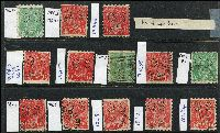 Lot 209 [2 of 3]:1½d Die I Varieties selection of plated flaws, greens & reds, most are perf 'OS'. Catalogued flaws 89(17)j,rb, 89(18)j, other plated flaws are 14L51, 17R46,57 x2,58, 18L1,2,5,8,31,34,40,41,43,45 x2,46,57,60, 18R1,4,6,24,28,54. (28)