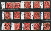 Lot 209 [3 of 3]:1½d Die I Varieties selection of plated flaws, greens & reds, most are perf 'OS'. Catalogued flaws 89(17)j,rb, 89(18)j, other plated flaws are 14L51, 17R46,57 x2,58, 18L1,2,5,8,31,34,40,41,43,45 x2,46,57,60, 18R1,4,6,24,28,54. (28)