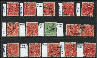 Lot 210 [2 of 3]:1½d Die I Varieties selection of plated flaws, reds & odd green, most are perf 'OS'. Catalogued flaws 89(18)j,p, 89(19)d,j, 89(21)ha, other plated flaws are 18R6,20,24,28,29,30,33 x2,40,46 x2,54, 19L27,33,40,41,43, 19R2,9,30, 20L56, 21L4,5. (30)