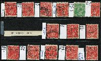 Lot 211 [3 of 3]:1½d Die I Varieties selection of plated flaws, reds and few black-brown & green, most are perf 'OS'. Catalogued flaws 85(5)e, 88(12)m, 89(17)na,q,rb x2, 89(18)j, other plated flaws are 1L55, 3R42, 7L19, 8R5, 13L43,55, 14L51, 15R48, 17R46,51, 18L8,34,45 x2,57, 18R1,6 x2,28,33,54. (29)