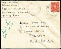 Lot 1363 [2 of 3]:1949 (21 Jun) New Britain District 'Catalina' first flights, complete set comprising flights from Rabaul to Jacquinot Bay, Kandrian (Gasmata) or Talasea, all signed by pilot Hugh Birch and addressed to Hudson Fysh, AAMC #P180-82 and tidily presented on annotated album pages. Ex Ray Kelly. (3)