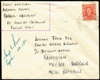 Lot 1363 [3 of 3]:1949 (21 Jun) New Britain District 'Catalina' first flights, complete set comprising flights from Rabaul to Jacquinot Bay, Kandrian (Gasmata) or Talasea, all signed by pilot Hugh Birch and addressed to Hudson Fysh, AAMC #P180-82 and tidily presented on annotated album pages. Ex Ray Kelly. (3)