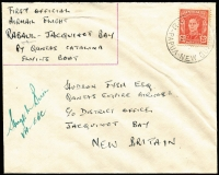 Lot 1363 [1 of 3]:1949 (21 Jun) New Britain District 'Catalina' first flights, complete set comprising flights from Rabaul to Jacquinot Bay, Kandrian (Gasmata) or Talasea, all signed by pilot Hugh Birch and addressed to Hudson Fysh, AAMC #P180-82 and tidily presented on annotated album pages. Ex Ray Kelly. (3)
