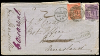 Lot 1213 [1 of 2]:1869 (Aug 12) inwards cover (damaged flap) Great Britain to Brisbane endorsed 'via Marseilles' franked with 4d vermilion & 6d mauve (cat from £140 on cover) tied by Winslow duplex, oval 'ADVERTISED/JA1/1870' and boxed 'NOT CALLED FOR' both applied in Brisbane, large DLO backstamp, later endorsed 'Cawarral' where presumably collected. Enclosed letter talks about the addressee's hard work at the diggings. Rare.