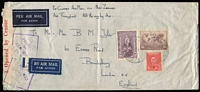 Lot 373:1941 (Oct 20) Clipper Mail cover from Melbourne to USA with 10/- Robes, 1/6d Hermes & 2d KGVI. Censor reseal at left.