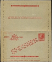 Lot 438:1943-51 KGVI Sideface 3½d red with ovptd 'SPECIMEN', BW #LC75w, mild sunlight stain at left, only 356 produced.