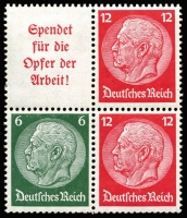 Lot 1045 [2 of 2]:1934 Hindenburg 2RM Mi #35, Cat €900. Contains panes Mi #81B-84B each se-tenant except the third (which sadly is missing four of the eight 6pf blackish green). Also includes three fresh MUH se-tenant blocks of four from each of the se-tenant panes.