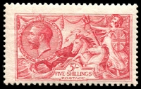 Lot 1631:1913-19 Seahorse Waterlow Printing 5/- rose-carmine, SG #401, mint, Cat £625.