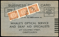 Lot 1627:1940 (Mar 11) use of 3d Postage Due strip of 3 on Business Reply Card. Unusual.