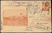 Lot 1211:1908 QV Sideface Views 4 Line Heading Commencing 'POST CARD' 1d orange-brown, 'Arrowroot Field, Coomera River', HG #15a, cancelled with unframed duplex '[TO]WNSVILLE/1/OC10/[10]/[QU]