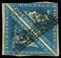 Lot 1464:1863-64 Triangles DLR Printings 4d blue pair one margin cut-into slightly, otherwise good to close margins, SG #19a, Cat £240+, pairs are quite difficult.