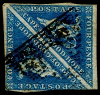 Lot 1676:1863-64 Triangles DLR Printings 4d blue pair one margin cut-into slightly, otherwise good to close margins, SG #19a, Cat £240+, pairs are quite difficult.