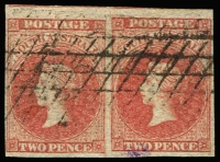Lot 1120:1856-58 Imperf Adelaide Printing 2d red pair 4-margins (good to large), SG #9.