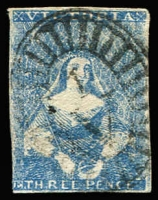 Lot 625:1850-53 Half-Length Ham 3rd State 3d blue, 4 close or touching margins [Pos 9], SG #11, Cat £85.