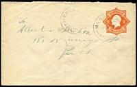 Lot 276 [1 of 3]:1920-21 2d Orange Star [1] without 'POSTAGE', 1920 use Merredin to Perth; [2] with POSTAGE x2, one uprated with 3d olive Roo Die I, 1922 registered use Longwarry to Melbourne (toning on reg label), the other 1922 use from Melbourne to Ballarat, BW #EP21,22. (3)