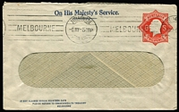 Lot 556:1922-23 2d Red KGV Star Solid 'OS' With 'POSTAGE' window envelope for Commonwealth Treasury Melbourne, 1922 use in Melbourne, BW #EO12.