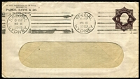 Lot 455 [1 of 2]:1918-1919 1½d Black-Brown KGV Star No 'POSTAGE' Die 2 x2, one for Parke Davis & Co Sydney on window envelope, 1919 use in Sydney, the other for Brown & Hellicar Ltd Sydney uprated with 1½d black-brown KGV for 1919 use Sydney to USA. folded, BW #ES48