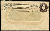 Lot 456:1918-1919 1½d Black-Brown KGV Star No 'POSTAGE' Die 2 for Peterson & Co Melbourne on window envelope, 1919 use in Melbourne, BW #ES49