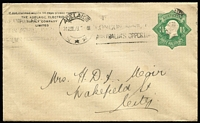 Lot 291 [2 of 2]:1923-24 1½d Green KGV Star With 'POSTAGE' x2, one unused for Brooks Robinson & Co Melbourne on window envelope, the other for The Adelaide Electric Supply Co, 1923 local use in Adelaide, BW #ES55. (2)