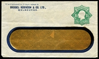 Lot 291 [1 of 2]:1923-24 1½d Green KGV Star With 'POSTAGE' x2, one unused for Brooks Robinson & Co Melbourne on window envelope, the other for The Adelaide Electric Supply Co, 1923 local use in Adelaide, BW #ES55. (2)