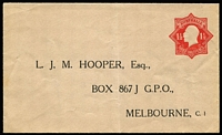 Lot 459 [1 of 2]:1924-28 1½d Red KGV Star With 'POSTAGE' x2, one unused for LJM Hooper Melbourne, folded, the other for Anthony Hordern & Sons Sydney on window envelope, 1927 use in Adelaide, BW #ES56. (2)