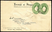 Lot 842 [1 of 2]:1928-37 1d Green KGV Oval x2, one for Borough of Shepparton, soiled, uprated with 1d green oval cut-out for 1931 use Shepparton to Melbourne. The other for Wallace Buck & Goodes Sydney on illustrated window envelope, 1935 use in Sydney, BW #ES64. (2)