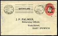 Lot 577 [2 of 3]:1930 'TWO PENCE' on 1½d Red KGV Oval [1] addressed but unused for Shire of Heidelberg; [2] for JF Palmer, East Ipswich, 1930 use from Rockhampton to East Ipswich; [3] for Lowan Shire Waterworks Trust, small faults on back, 1931 use from Nhill to Melbourne, BW #ES70.