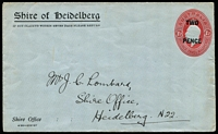 Lot 577 [1 of 3]:1930 'TWO PENCE' on 1½d Red KGV Oval [1] addressed but unused for Shire of Heidelberg; [2] for JF Palmer, East Ipswich, 1930 use from Rockhampton to East Ipswich; [3] for Lowan Shire Waterworks Trust, small faults on back, 1931 use from Nhill to Melbourne, BW #ES70.