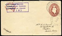 Lot 579 [1 of 3]:1941-42 1d Brown KGVI Oval for Australian Defence Canteens x5, BW #ES77, for used in 1942 and one uprated with 1½d green QE and used in 1945.