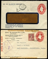 Lot 581 [3 of 3]:1941-50 2½d Red KGVI Oval x4, one unused for Education Department Melbourne and 3 used, Education Department Melbourne, Department of Treasury Canberra & General Plastics Co Camperdown, BW #ES86. (4)