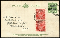 Lot 516 [2 of 2]:1930 'THREE/HALFPENCE' On 1d Green KGV Sideface Die 3, BW #P66 x2, one fresh unused and the other 1932 use from Brisbane to Sydney, uprated with 1½d Red KGV pair (presumably for airmail service) (2)